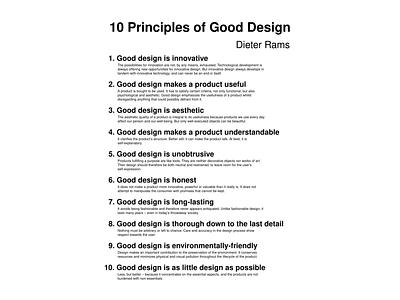 Dieter Rams Poster gooddesign 10principles principles deiter rams design studio industrial design