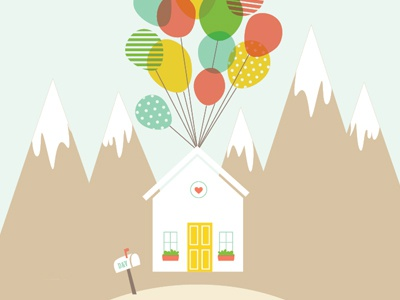"""UP"" themed wedding up movie balloons house mailbox mountains illustration"