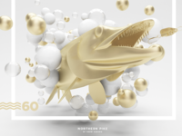Northern Pike Abstract 3D Scene