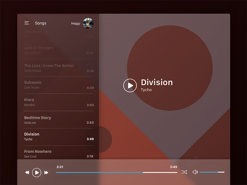 Daily UI Challenge #009 - Music Player daily ui challenge songs tycho music player