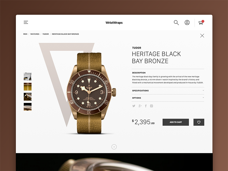 Daily UI Challenge #012 - E-Commerce Page product simple clean dailyui ecommerce watch