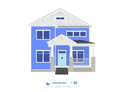 Homes of The Heights // No. 2 series neighborhood bright building line illustration vector heights houston house