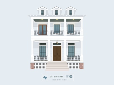 Homes of The Heights // No. 3 series neighborhood bright building line illustration vector heights houston house