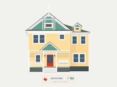 Homes of The Heights // No. 4 series neighborhood bright building line illustration vector houston house