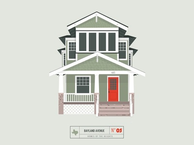 Homes of The Heights // No. 5 series neighborhood bright building line illustration vector heights houston house