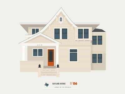 Homes of The Heights // No. 6 series neighborhood bright building line illustration sketch vector houston house