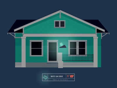 Homes of The Heights // No. 7 series neighborhood bright building line illustration vector houston house