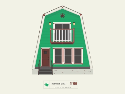Homes of The Heights // No. 8 series neighborhood bright building line illustration vector houston house