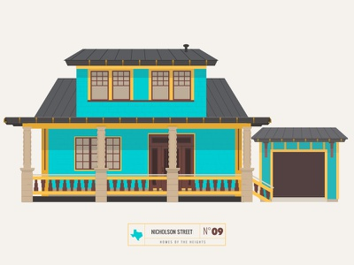 Homes of The Heights // No. 9 series neighborhood bright building line illustration vector houston house