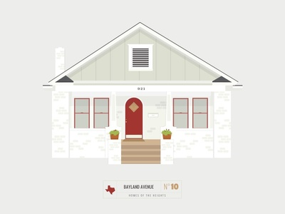 Homes of The Heights // No. 10 series neighborhood bright building line illustration vector houston house