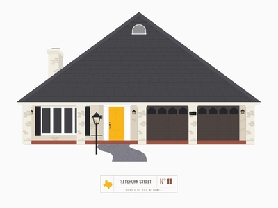 Homes of The Heights // No. 11 series neighborhood bright building line illustration vector houston house