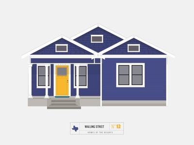 Homes of The Heights // No. 12 series neighborhood bright building line illustration vector heights houston house