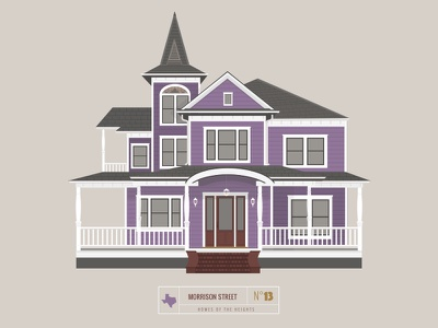 Homes of The Heights // No. 13 series neighborhood bright building line illustration vector heights houston house