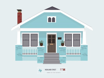 Homes of The Heights // No. 14 series neighborhood bright building line illustration vector heights houston house