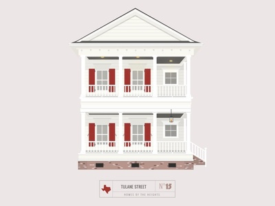 Homes of The Heights // No. 15 series neighborhood bright building line illustration vector houston house
