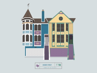 Homes of The Heights // No. 16 series neighborhood bright building line illustration vector heights houston house