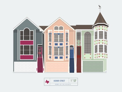 Homes of The Heights // No. 17 series neighborhood bright building line illustration vector heights houston house