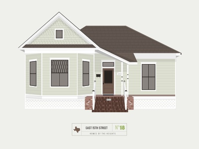 Homes of The Heights // No. 18 series neighborhood bright building line illustration vector heights houston house