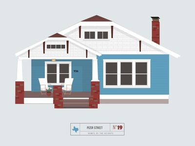 Homes of The Heights // No. 19 series neighborhood bright building line illustration vector heights houston house