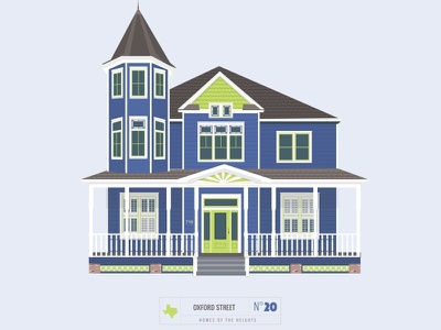 Homes of The Heights // No. 20 series neighborhood bright building line illustration vector heights houston house