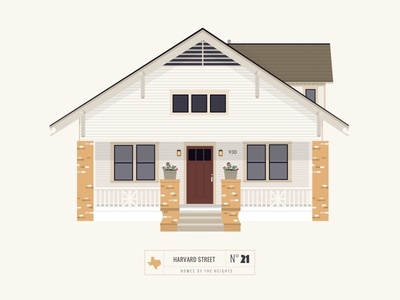 Homes of The Heights // No. 21  shadows home sketch app series neighborhood bright building line illustration vector houston house