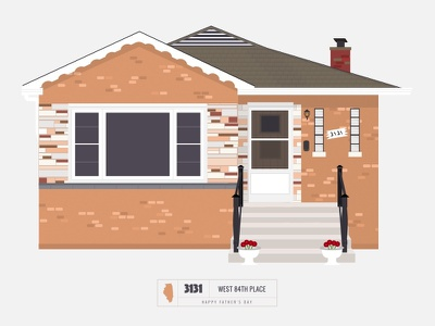 Homes of Chicago series neighborhood bright building line illustration vector fathers day chicago house