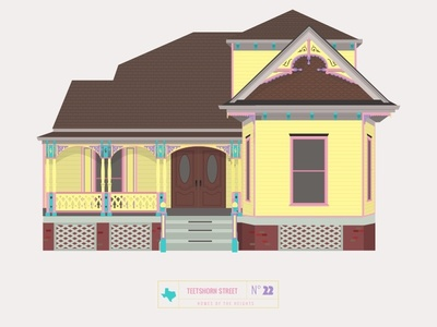 Homes of The Heights // No. 22 shadows home sketch app series neighborhood bright building line illustration vector houston house