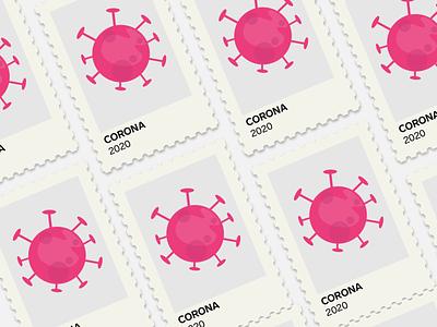 Corona 2020 covid-19 covid19 design 2d vector 2020 illustration flat post stamp virus corona