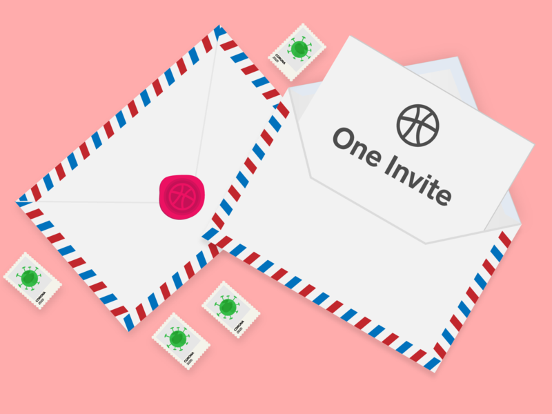 I have an invite!!! invitation card giveway join new debut dribbble best shot dribbble invite invitation invite illustrator flat illustration illustration design
