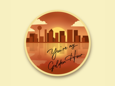 Golden Hour gradient orange warm kacey sun badge brushes brush apple pencil applepencil city cityscape sunset sunrise dallas illustration ipad procreate landscape golden hour