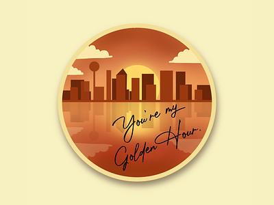 Golden Hour gradient orange warm kacey sun badge brushes brush apple pencil applepencil city cityscape sunset sunrise dallas illustration ipad procreate landscape golden hour
