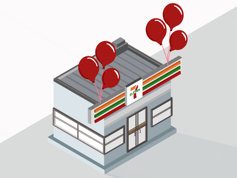 Happy 7/11 day! design illustration branding procreate app apple pencil retail balloon slurpee shop storefront isometric illustration isometric art store procreate isometric 711 7-eleven