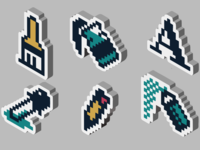 Isometric 90's Artist Pack procreate rebound tools icons stickers 3d windows pixel pixel art nostalgia 90s retro paint app paint isometric isometry