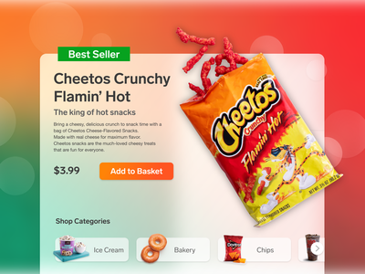 Cheetos ui design adobe xd adobexd drop shadow 7-eleven landing page shopping glassmorphism frosted ecommerce shop landing snack hot