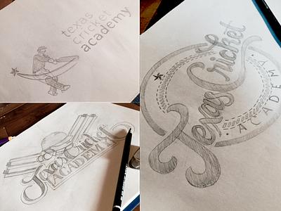 Texas Cricket Academy Logo sports logo sports texas cricket sketch lettering glyphsapp glyphs illustrator 2d vector illustration design logo