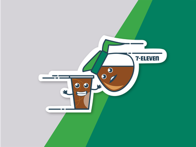 7-Eleven Coffee icon coffee green illustrator 2d illustraion vector 7-eleven design illustration stickermule sticker design sticker