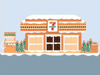 7-Eleven Gingerbread house convenience dessert cookie design illustration branding flat illustration snow 2d winter graphic house ginger gingerbread store christmas holiday