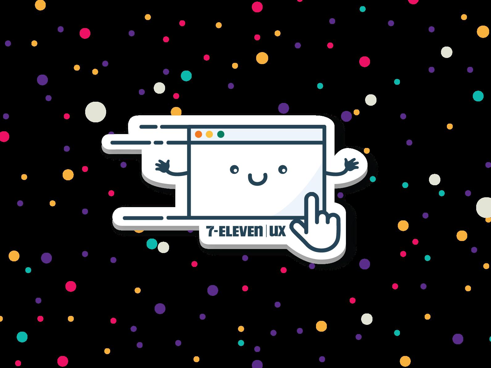 A flying screen 7-eleven illustrator illustration 2danimation confetti click characterdesign cute character screen stickers sticker ux