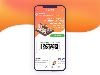 Mobile Checkout in the 7-Eleven app 7eleven 711 sketch vector 7-eleven interaction store mobile ui mobile ios app interface ui isometric flat illustration 2d ux illustration design