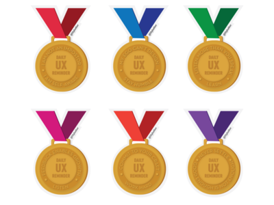 Daily UX Reminder principles awards inspiration drawing medals medal vector ux flat illustration 2d 7-eleven illustration design
