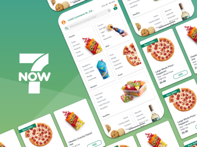 7Now - Oh yes, I can very much gimmick when needed ios mobile ui ui shadow tiles gimmick gimmickal mobile pizza 7-eleven app shop ecommerce