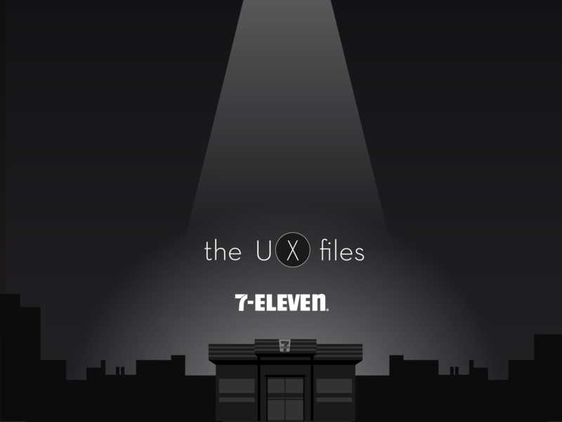 The UX Files illustration 2d ufo flat illustration illustrator vector store newsletter 7-eleven black dark mystery cover x ux