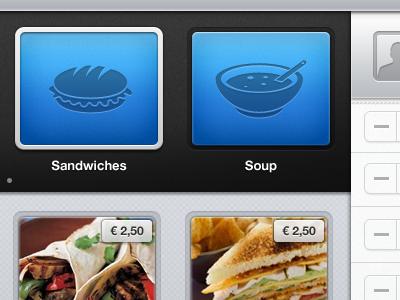 Cashier sandwiches soup cashier