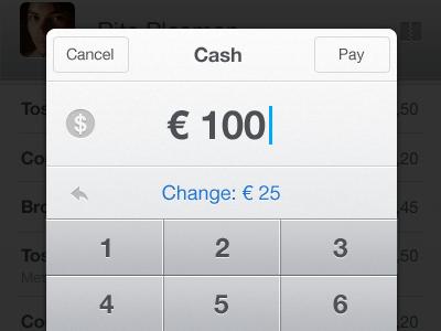 Change cash change cashier