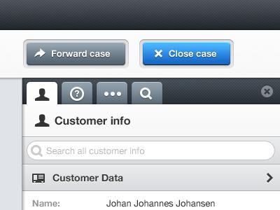 Customer info tabs buttons