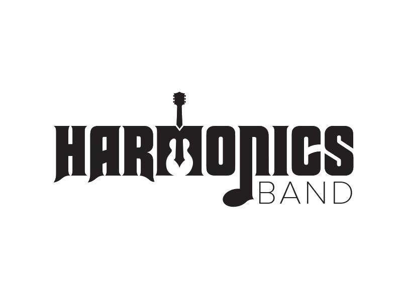 Harmonics Logo Unused Concept white space black and white bold harmony harmonic band guitar music identity branding logo