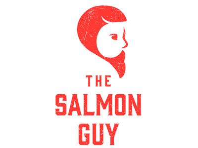 The Salmon Guy food branding food logo food fish logo distressed logo grunge logo grunge hipster logo fish salmon logo design brand branding logo