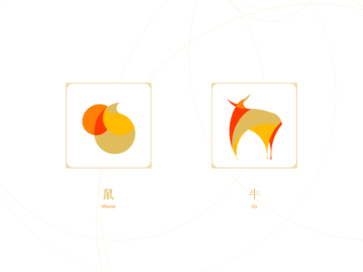 2 of Chinese Zodiac: Mouse & Ox illustration
