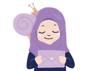 Illustration - Snail Mail letter snail girl