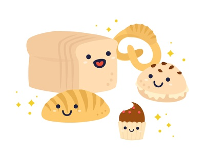 Illustration - Bread Family  roti food sweet cupcake pastry bread